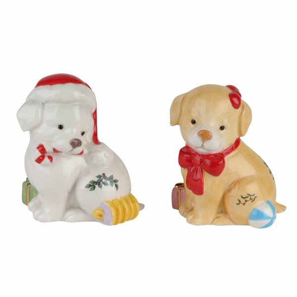 Christmas Tree Puppy 2 Piece Salt And Pepper Set By Spode.