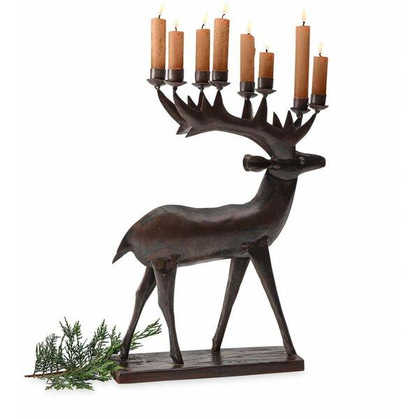Handmade Reindeer Metal Candelabra by Millwood Pines