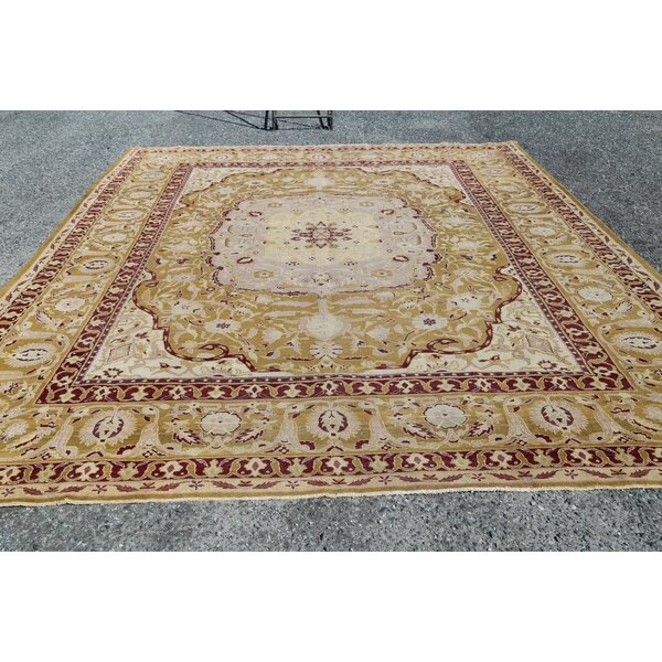 One-of-a-Kind Ohler Hand-Knotted Before 1900 Agra Gold/Red 9'10 x 12'6 Wool Area Rug