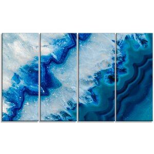 'Geode Slice Macro' 4 Piece Graphic Art on Wrapped Canvas Set by Design Art