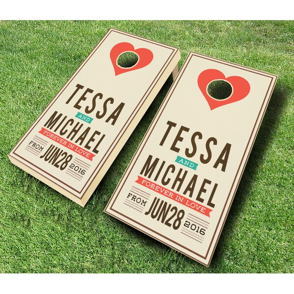Announcement Wedding Stained Cornhole Set by AJJ Cornhole