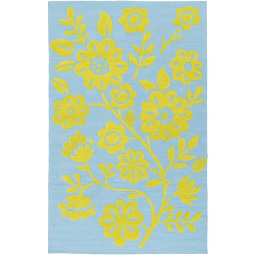 Cesar Hand-Hooked Green/Blue Area Rug by Zoomie Kids