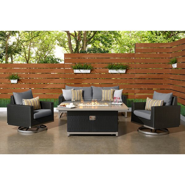 Minor 4 Piece Rattan Sunbrella Sofa Seating Group with Cushions by Wade Logan
