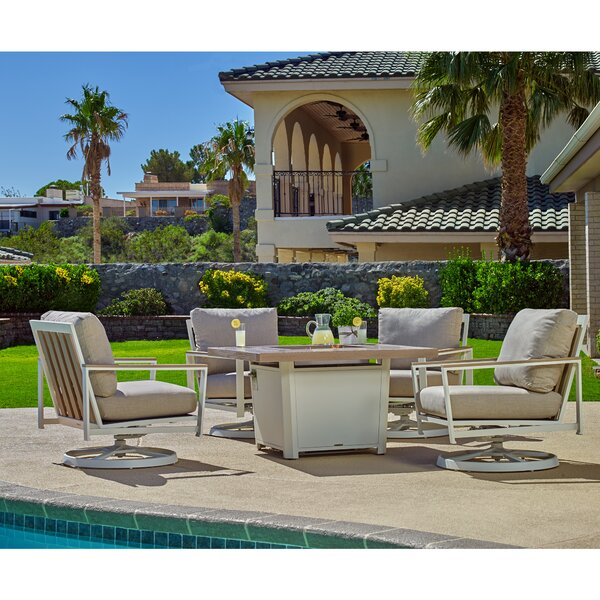Echo 5 Piece Firepit Chat Chaise Lounge with Cushion and Table