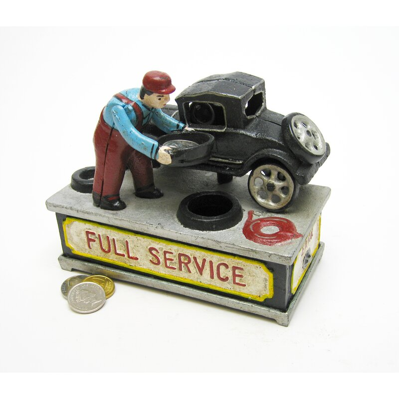 Authentic Model T at the Service Station Foundry Mechanical Piggy Bank