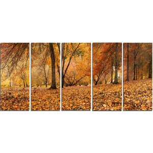 Brown Autumn Panorama 5 Piece Wall Art on Wrapped Canvas Set by Design Art