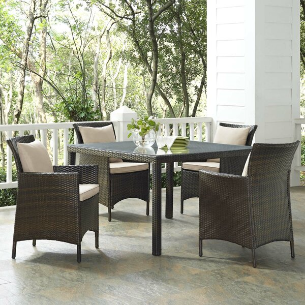 Rosenberry Patio 5 Piece Dining Set with Cushions by Breakwater Bay
