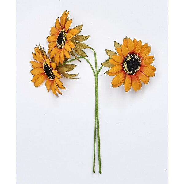 Bundle Sunflower Floral Arrangement (Set of 3) by August Grove