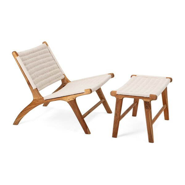 Mccrory Woven Teak Lounge Chair and Ottoman by Bungalow Rose