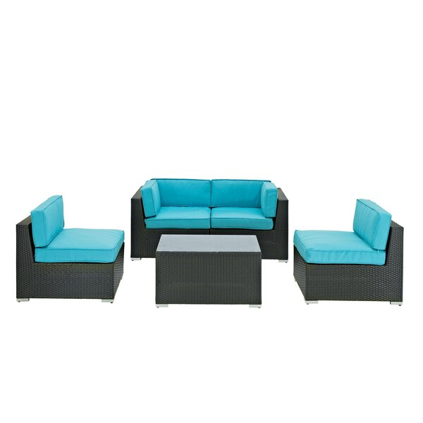 Camfora 5 Piece Rattan Sofa Seating Group with Cushions by Modway