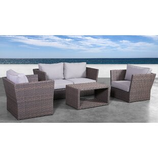 Cody 5 Piece Rattan Sofa Seating Group with Cushions By Rosecliff Heights