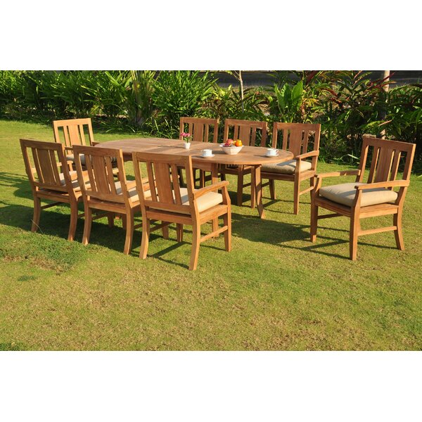Kevon Luxurious 9 Piece Teak Dining Set by Rosecliff Heights