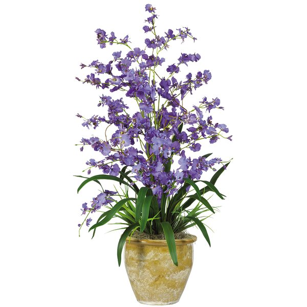 Triple Dancing Lady Silk Orchid Flower in Purple by Nearly Natural