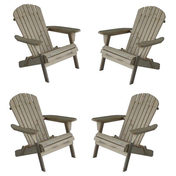 Oakden Oceanic Wood Folding Adirondack Chair (Set Of 4) By Highland Dunes