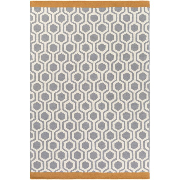 Blitar Hand-Crafted Gray/Orange Area Rug by Wrought Studio