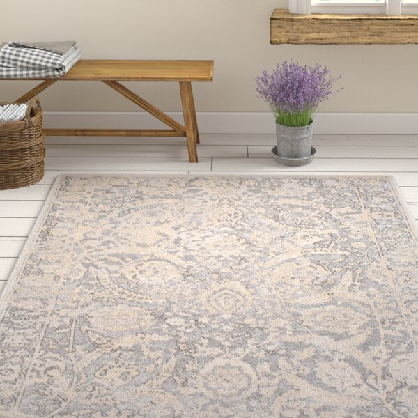 Kirtley Floral Charcoal/Cream Area Rug by Ophelia & Co.