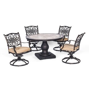 Bucci 5 Piece Dining Set with Cushion By Fleur De Lis Living