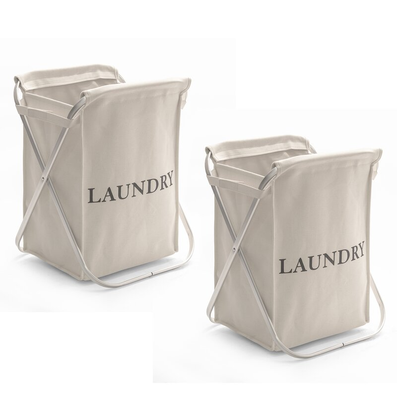 Gracie Oaks Aluminum X-Frame Folding Laundry Hamper | Wayfair