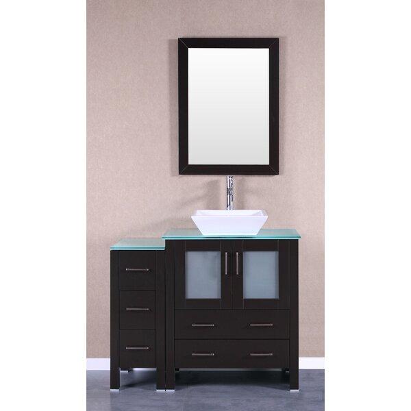 Bauhaus 42 Single Bathroom Vanity Set with Mirror by Bosconi