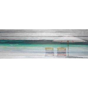 'By The Beach' by Parvez Taj Framed on Canvas Gray by Beachcrest Home