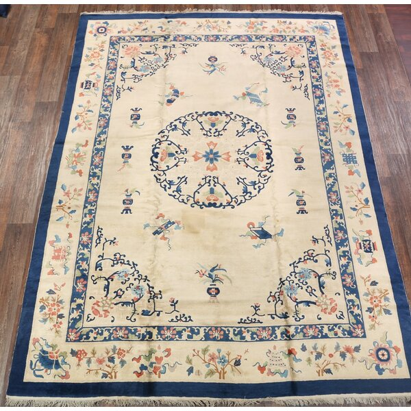 Winscombe Art Deco Nichol Chinese Oriental Hand-Knotted Wool Beige/Blue Area Rug by Bloomsbury Market