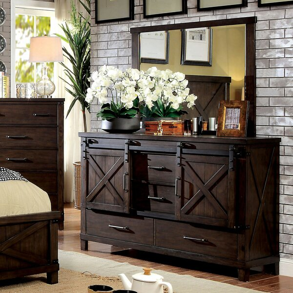 Grecia 4 Drawer Combo Dresser with Mirror by Three Posts