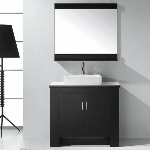 Glen Ridge 36.2 Single Bathroom Left Side Vanity Set and Mirror by Wade Logan