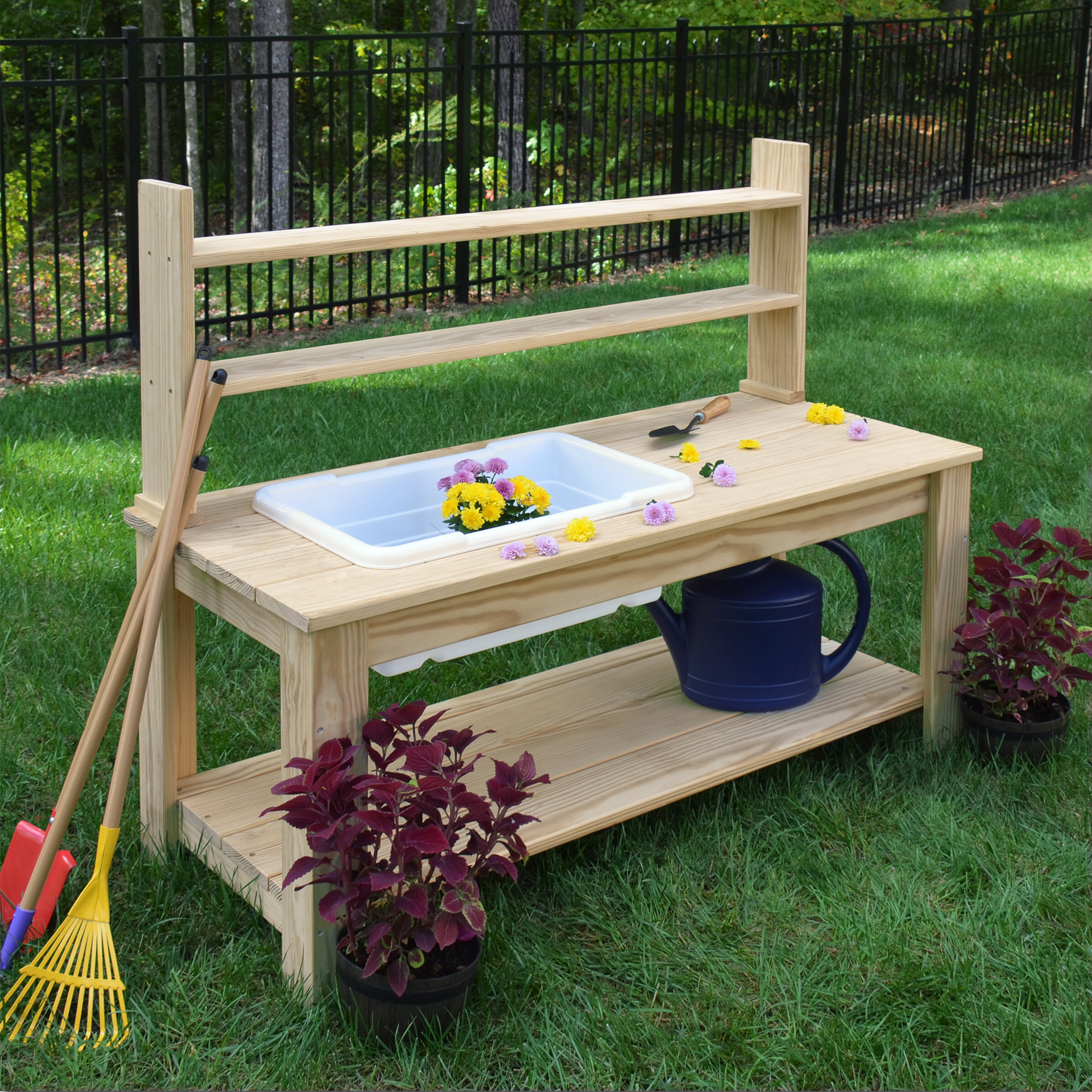 Picture of: Wood Designs Farmhouse Wood Potting Bench Wayfair