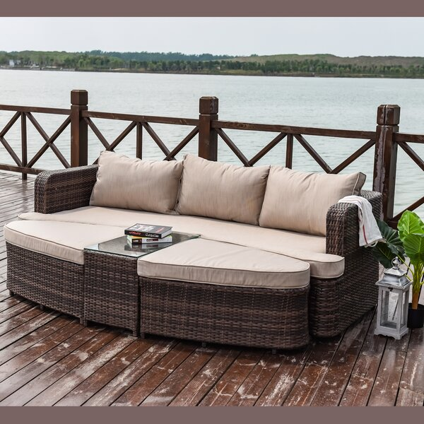Savanah 4 Piece Rattan Sofa Seating Group with Cushions by Longshore Tides