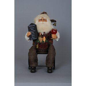 Christmas Santa Tabletop Wine Bottle Holder by Karen Didion Originals