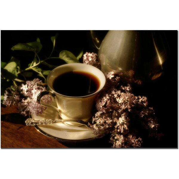 Coffee and Lilacs in the Morning by Lois Bryan Photographic Print on Wrapped Canvas by Trademark Fine Art