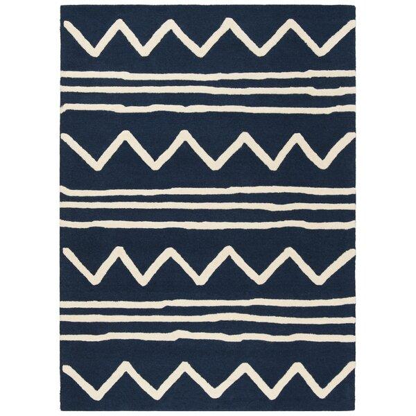 Claro Zigzag Hand-Tufted Navy Area Rug by Harriet Bee