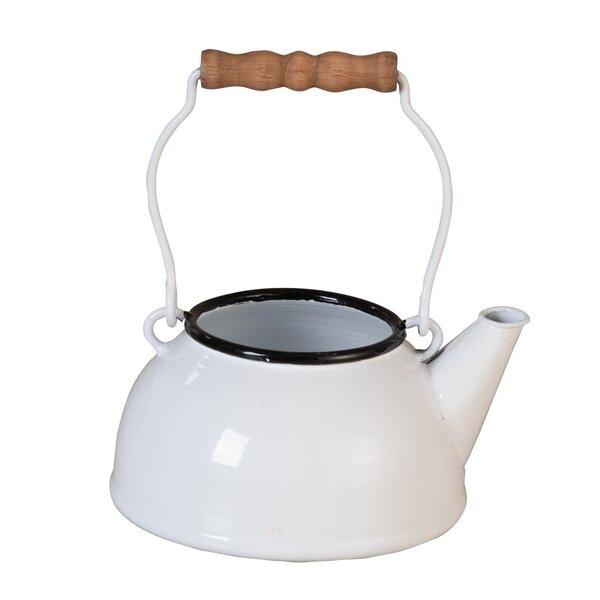 Maynard Enamel Tea Metal Pot Planter by Gracie Oaks