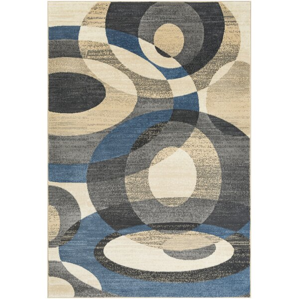 Kordell Abstract Denim/Sky Blue Area Rug by Ebern Designs