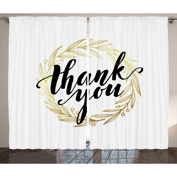 Dall Modern Thank You Quote Surrounded by Olive Leaves like Ivy with White Background Graphic Print & Text Semi-Sheer Rod Pocket Curtain Panels (Set of 2) by Latitude Run