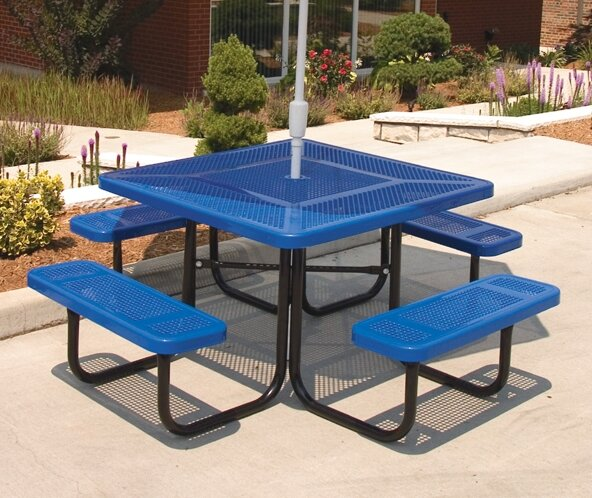 Square Picnic Table with Perforated Pattern by Ultra Play