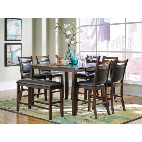 Gutshall 8 Piece Counter Height Extendable Solid Wood Dining Set by Red Barrel Studio