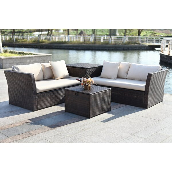 Marguerite 4 Piece Rattan Sectional Seating Group with Cushions by Darby Home Co
