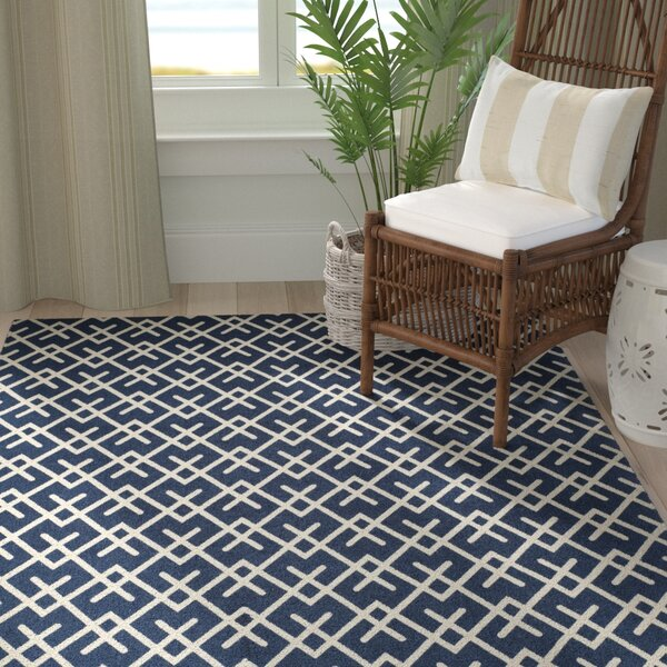 Branford Hand-Loomed Navy/Ivory Area Rug by Breakwater Bay