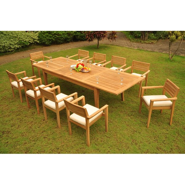 Jovany 11 Piece Teak Dining Set by Rosecliff Heights