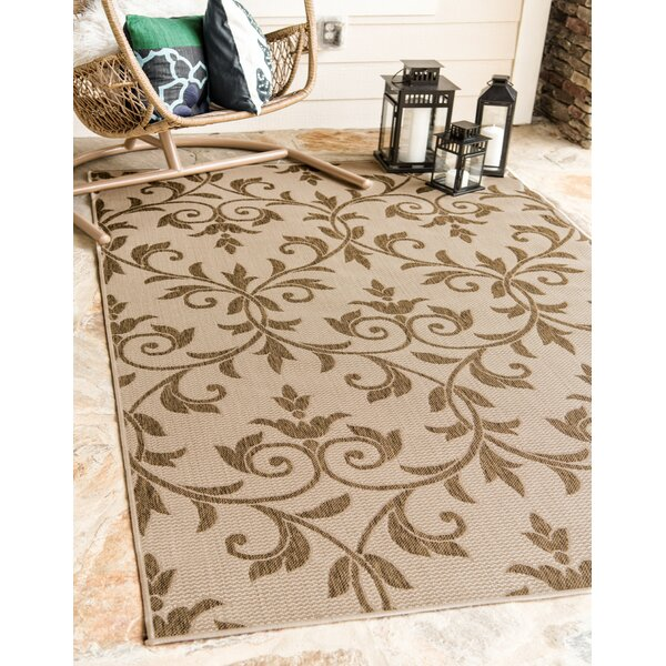 Sarahi Beige/Brown Indoor/Outdoor Area Rug by Ophelia & Co.