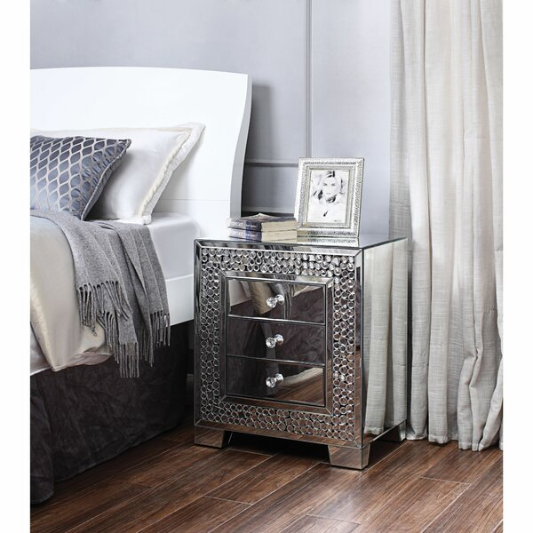 Albertson Faux Crystal Inlaid Wooden 3 Drawer Nightstand by Everly Quinn