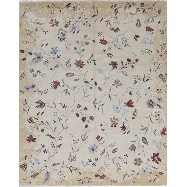 Floral Hand-Knotted Gold Area Rug