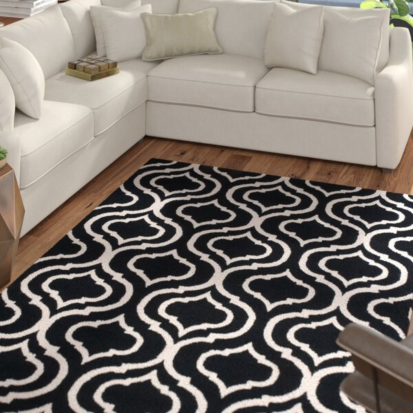 Aidyn Hand-Hooked Black Area Rug by Mercury Row