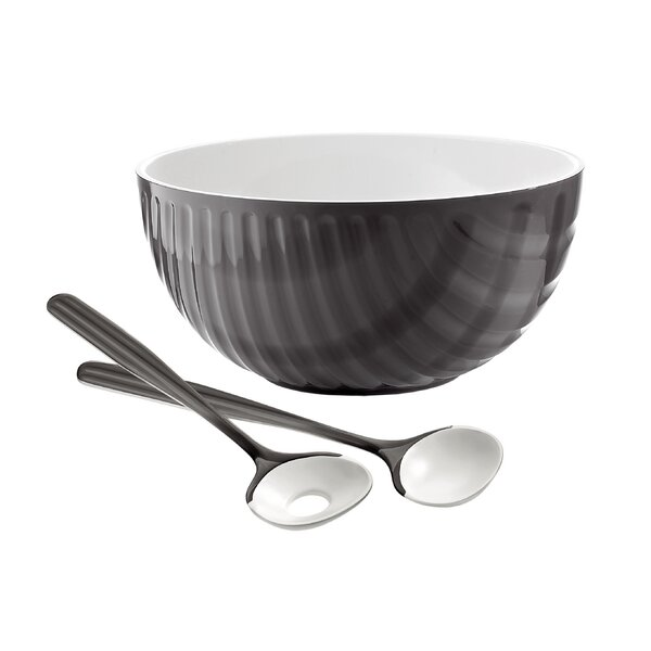 Mirage Two Tone 3.16 qt. Serving Bowl with Servers by Guzzini