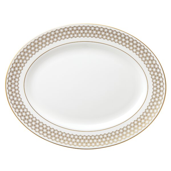 Prismatic Gold Bone China 13 Oval Platter by Lenox