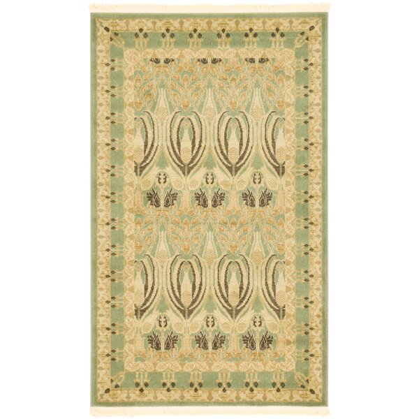Britley Light Green/Beige Area Rug by World Menagerie