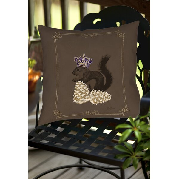 Luxury Lodge Squirrel Indoor/Outdoor Throw Pillow by Manual Woodworkers & Weavers