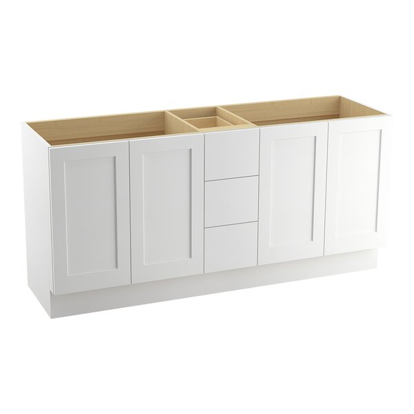 Poplin™ 72 Vanity with Toe Kick, 4 Doors and 3 Drawers, Split Top Drawer by Kohler