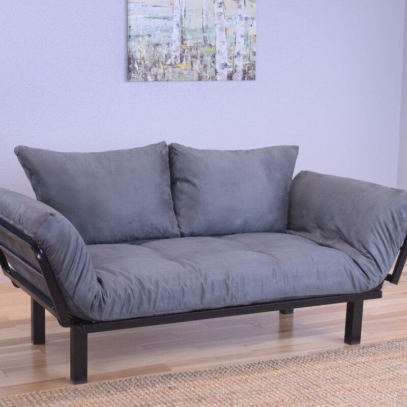 living room futon. Everett Black Convertible Lounger Futon and Mattress Ebern Designs